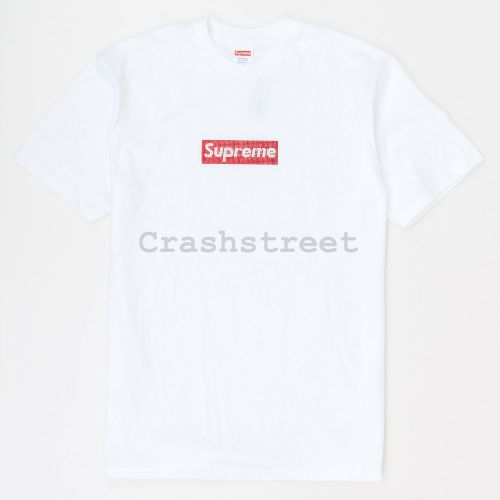 Swarovski Box Logo Tee in White