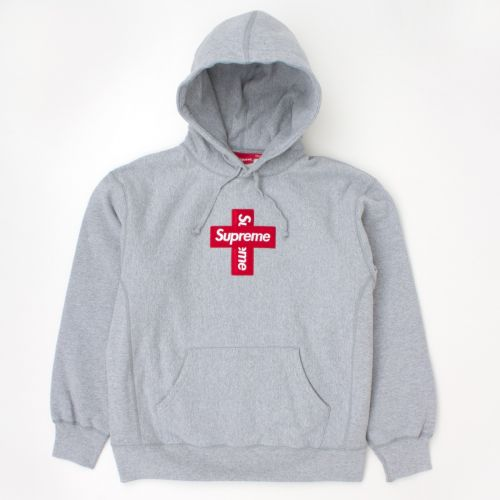 Cross Box Logo Hooded Sweatshirt in Grey