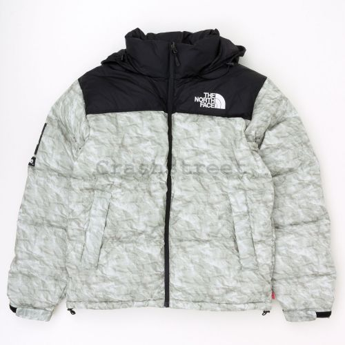TNF Paper Print Nuptse Jacket in White