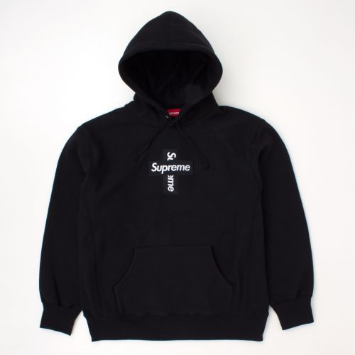 Cross Box Logo Hooded Sweatshirt in Black