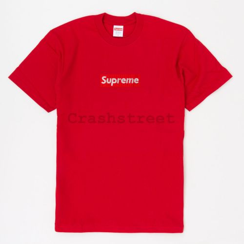 Swarovski Box Logo Tee in Red