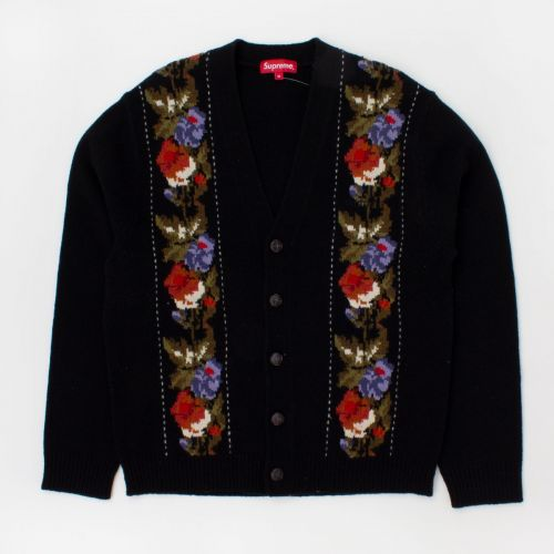 Floral Stripe Cardigan (fw19) in Black