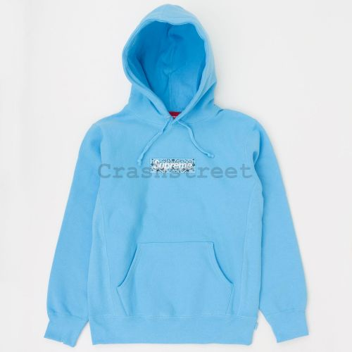 Bandana Box Logo Hooded Sweatshirt in Blue