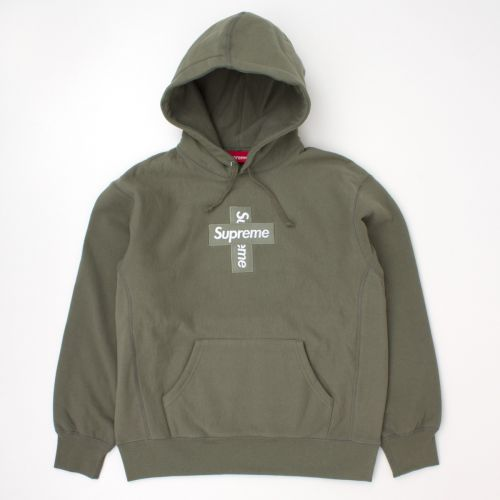 Cross Box Logo Hooded Sweatshirt in Olive