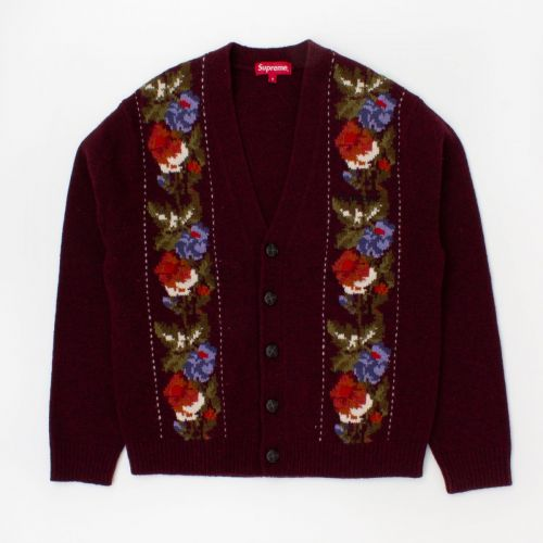 Floral Stripe Cardigan (fw19) in Burgundy