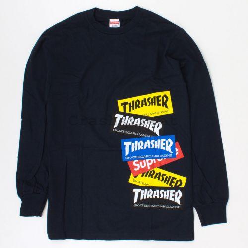 Thrasher Multi Logo LS Tee in Navy