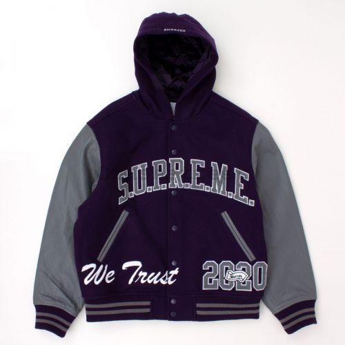 King Hooded Varsity Jacket in Purple