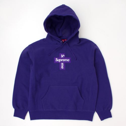 Cross Box Logo Hooded Sweatshirt in Purple