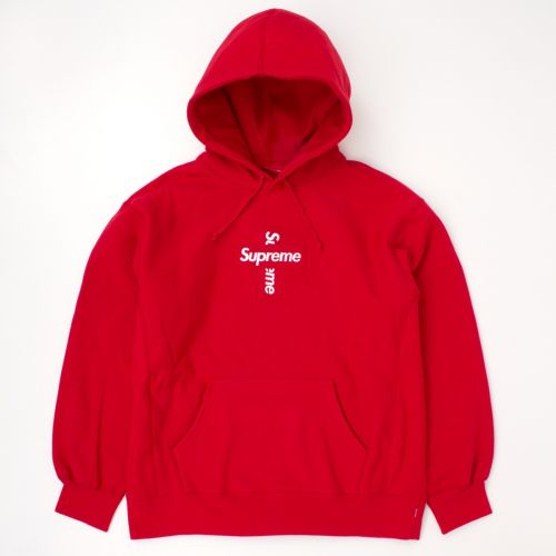 Cross Box Logo Hooded Sweatshirt in Red