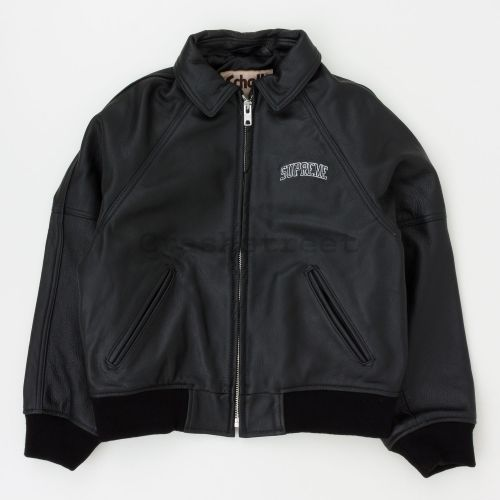 Schott Martin Wong 8 Ball Leather Varsity Jacket - Black