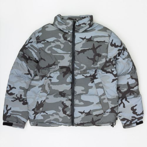 Reflective Camo Down Jacket in Black Camo