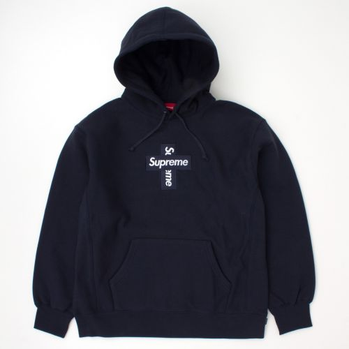 Cross Box Logo Hooded Sweatshirt in Navy