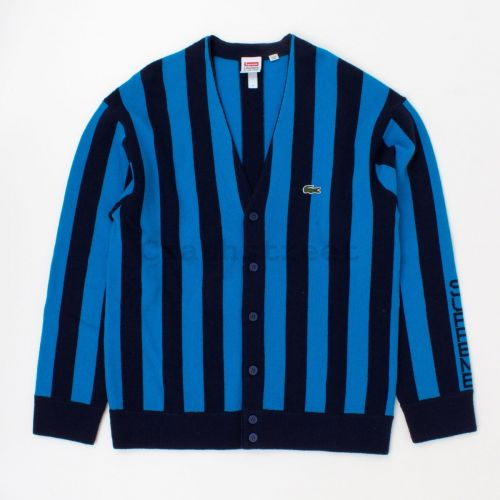 Lacoste Stripe Cardigan in Blue Stripe