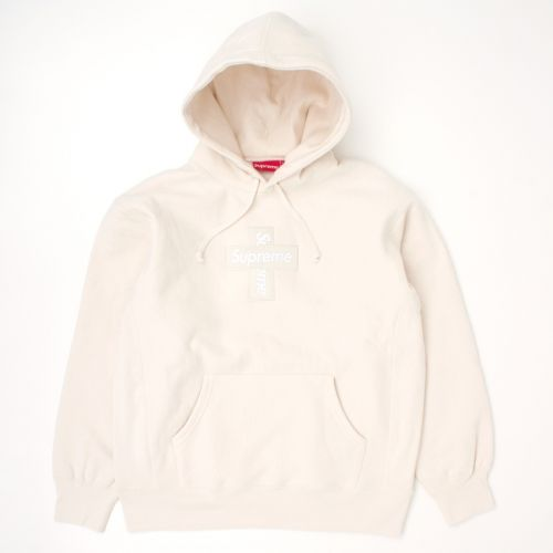Cross Box Logo Hooded Sweatshirt in Natural