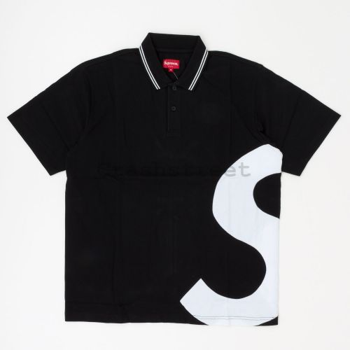 S Logo Polo in Black