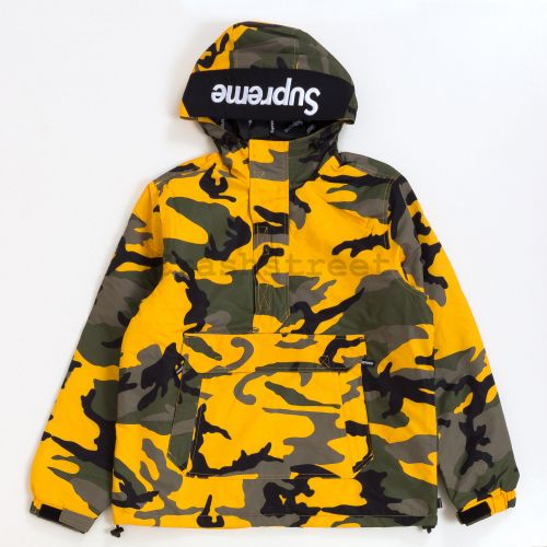 Hooded Logo Half Zip Pullover in Camo