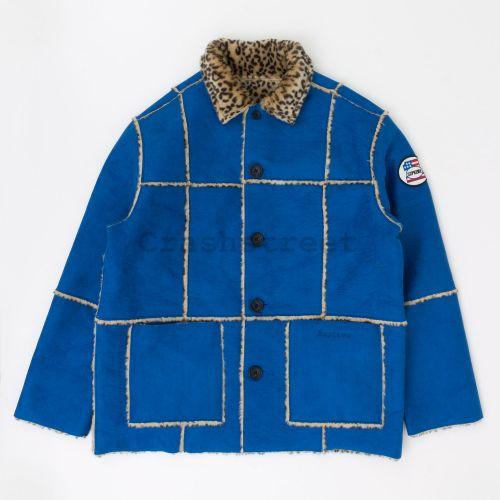 Reversible Faux Suede Leopard Coat - Blue