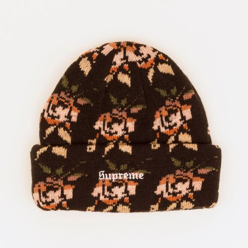 Rose Jacquard Beanie in Black