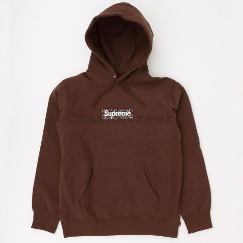 Bandana Box Logo Hooded Sweatshirt in Brown