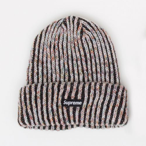 Rainbow Knit Loose Gauge Beanie - Black
