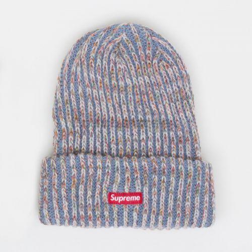 Rainbow Knit Loose Gauge Beanie - Blue