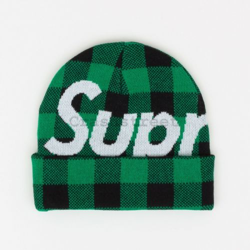 Big Logo Beanie - Green Plaid