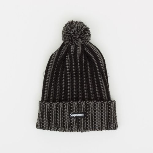Contrast Stripe Beanie in Black