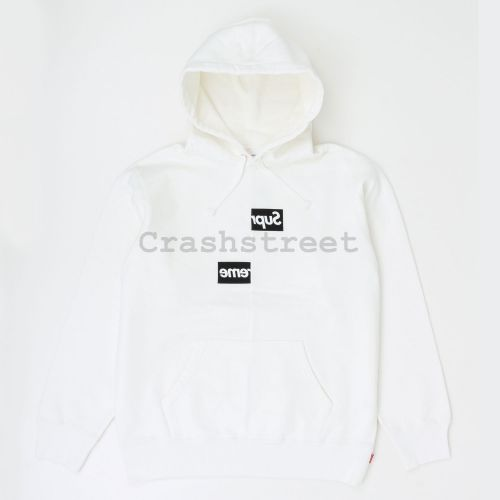 Comme des Garçons SHIRT Split Box Logo Hooded Sweatshirt in White