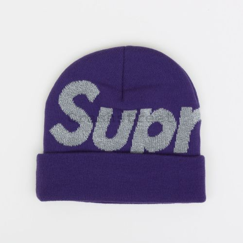 Reflective Big Logo Beanie in Purple