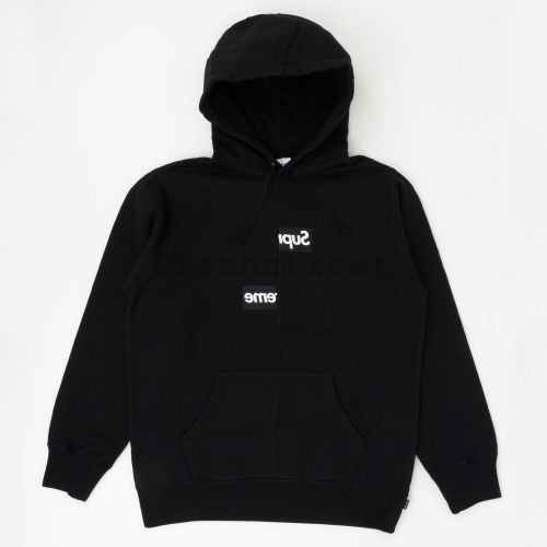 Comme des Garçons SHIRT Split Box Logo Hooded Sweatshirt in Black