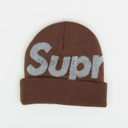 Reflective Big Logo Beanie in Brown