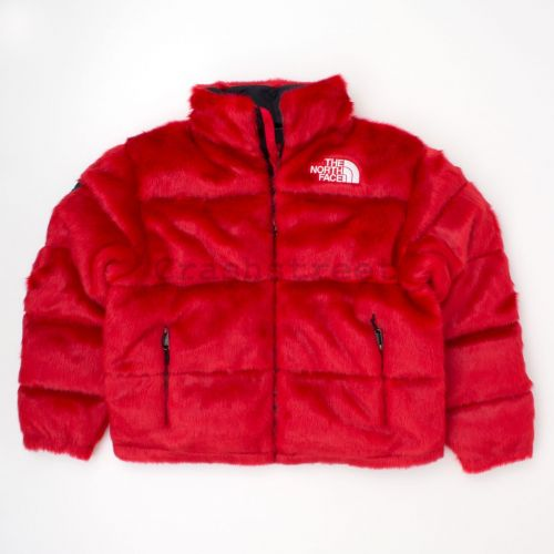 TNF Faux Fur Nuptse Jacket in Red