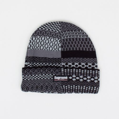 Multi Pattern Beanie - Black