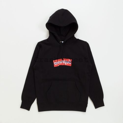 Comme des Garçons SHIRT Box Logo Hooded Sweatshirt in Black