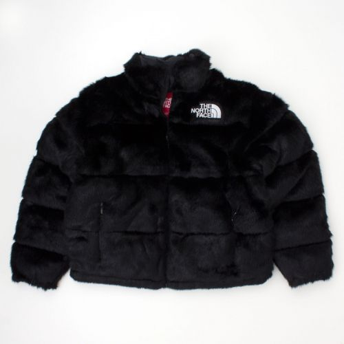 TNF Faux Fur Nuptse Jacket in Black