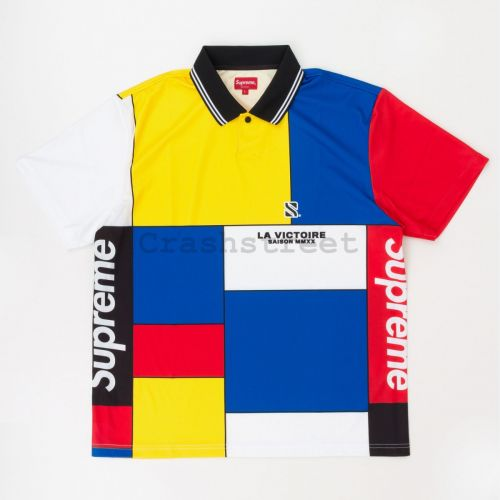 Colorblocked Soccer Polo in Red