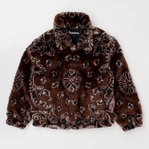 Bandana Faux Fur Bomber Jacket in Brown