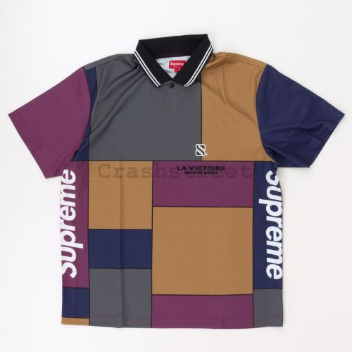 Colorblocked Soccer Polo in Purple
