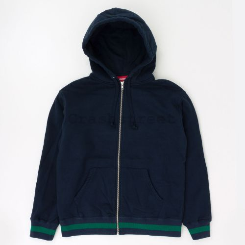 Old English Stripe Zip Up Sweatshirt - Navy