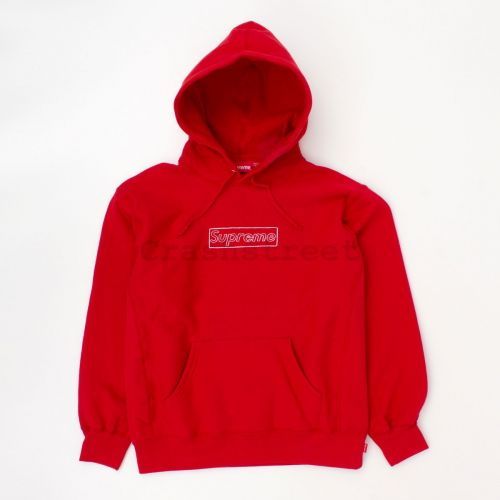 Kaws Chalk Logo Hooded Sweatshirt in Red