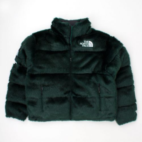 TNF Faux Fur Nuptse Jacket in Green