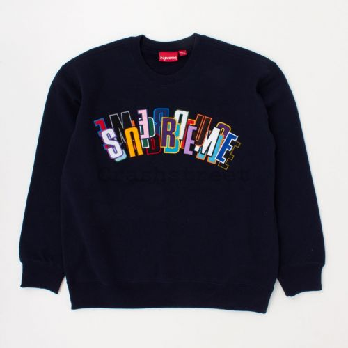 Stacked Crewneck in Navy