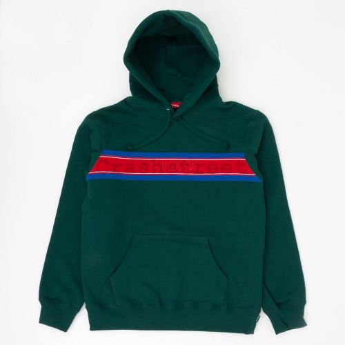 Chest Stripe Logo Hooded Sweatshirt - Green