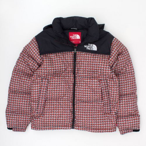 TNF Studded Nuptse Jacket in Red