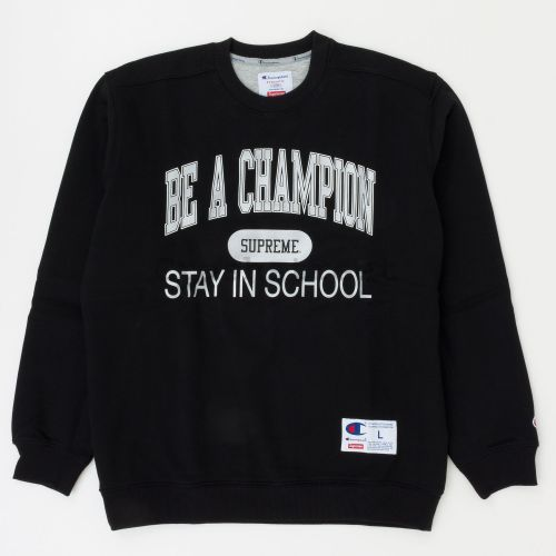 Champion Stay In School Crewneck in Black