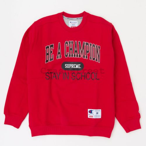 Champion Stay In School Crewneck in Red