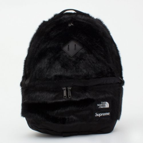 TNF Faux Fur Backpack in Black