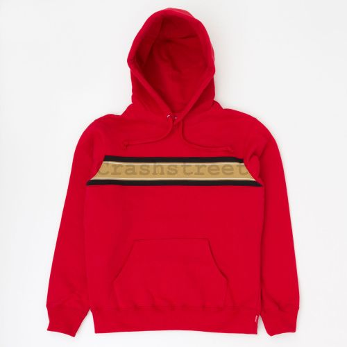 Chest Stripe Logo Hooded Sweatshirt - Red
