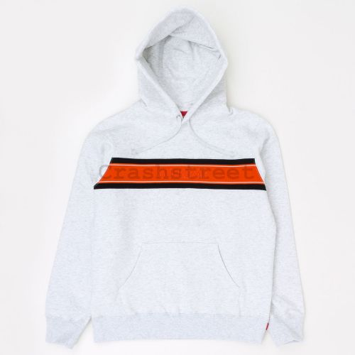 Chest Stripe Logo Hooded Sweatshirt - Grey