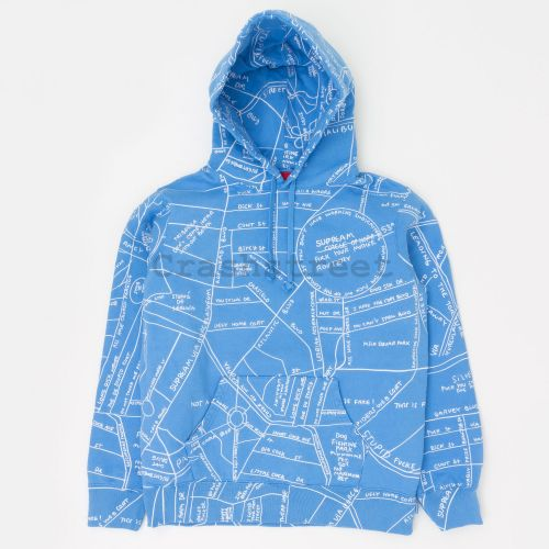 Gonz Embroidered Map Hooded Sweatshirt in Blue